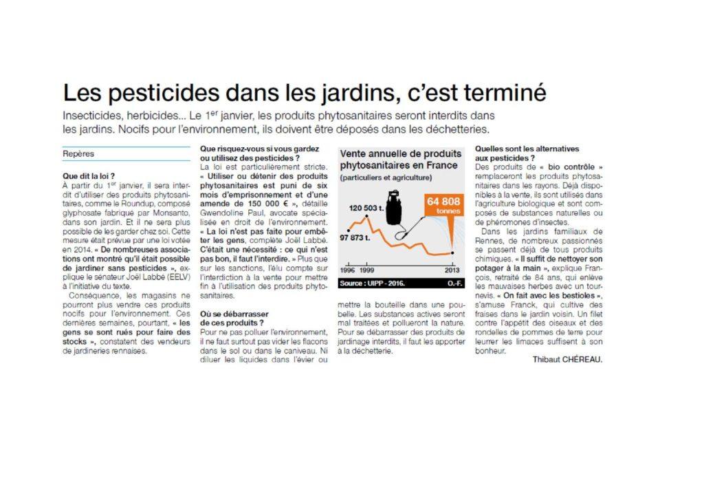 Les pesticides dans les jardins, c'est terminé (Ouest France, 28.12.2018)