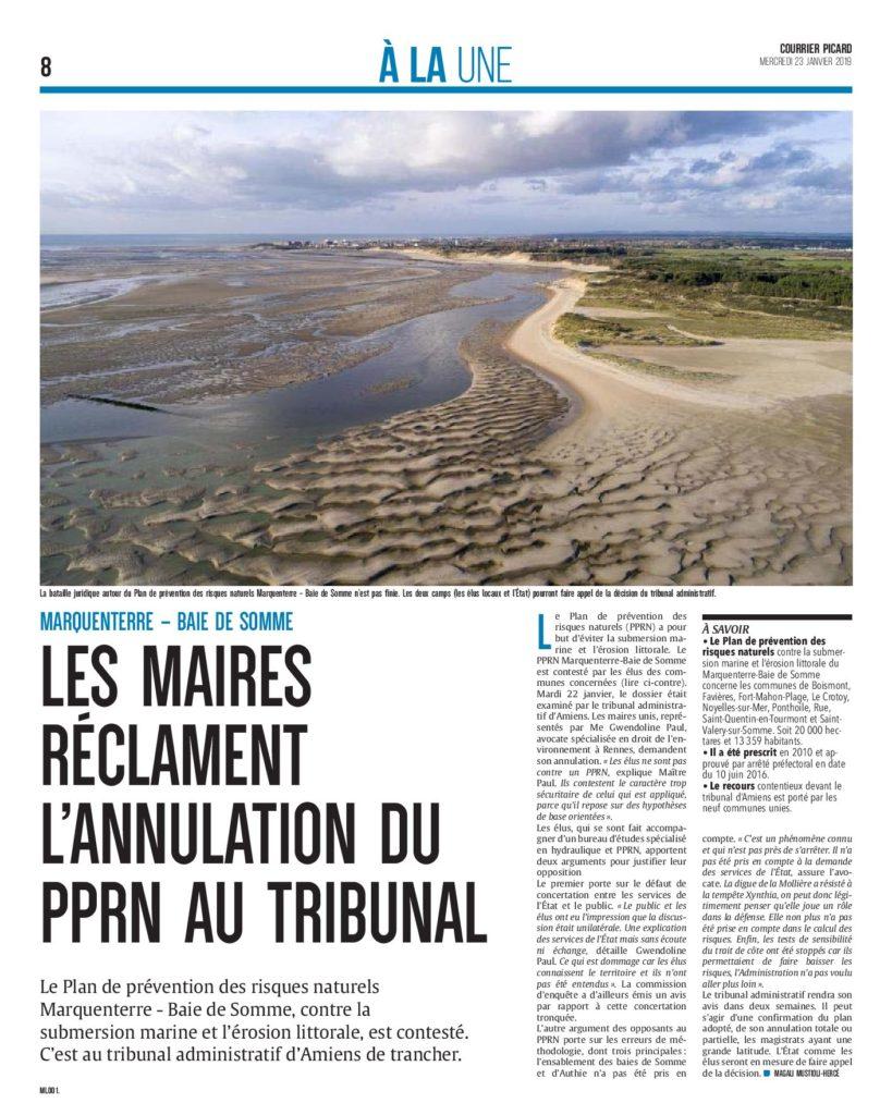 Plan de prévention des risques naturels (Courrier picard, 23 janvier 2019)